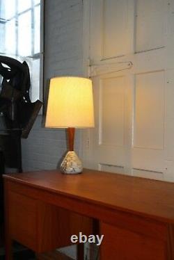 Vintage PAIR Mid Century Danish Modern Teak and Italian Marble Lamps