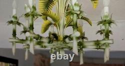 Vintage Palm Beach Faux Bamboo Palm Frond Chandelier Italy Chinoiserie