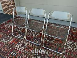 Vintage Post Modern Set of 3 1960's Italian Clear Acrylic Lucite Folding Chairs