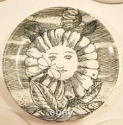 Vintage RARE Fornasetti Milano Soli Di Set of 7 Coaster Plates 4 Inch Italy MCM