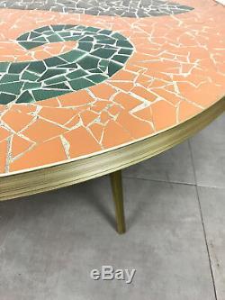 Vintage Round Mosaic Tile Brass Coffee Cocktail Table Mid Century Modern Italian