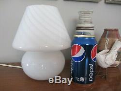 Vintage Vetri Murano Glass White Swirl Mushroom Table Lamp 7¾ Tall 7 wide 80's