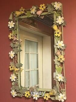 Vtg Italian Tole Mirror Enamel Floral Art MCM