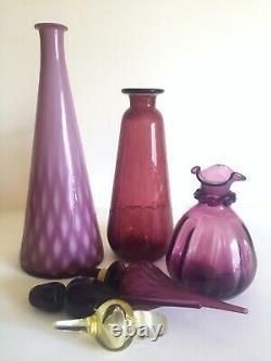 Vtg MID Century Modern Italy Empoli Hand Blown Purple Art Glass Bottles 3pc Set