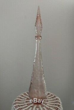 Vtg Mid Century Empoli Genie Bottle Decanter Baby Pink Peach Fruit Motif 22