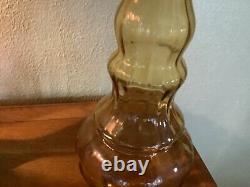 Vtg mid century modern EMPOLI Tall Amber Glass Genie Bottle Decanter & Stopper