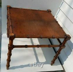 Wonderful Vintage 1950's Bamboo Teakwood Side Table MCM 18.5 x 15