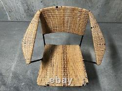 Wrought Iron & Rattan Arm Chair MCM Attrib Gio Ponti Grossman Raoul Guys Prouve