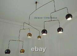 1950 MID Century Urchin Brass Spoutnik Chandelier Unique Stilnovo Kalmar Italien