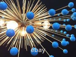 1950 MID Siècle Urchin Laiton Coloré Sputnik Chandelier Stilnovo Italien Kalmar