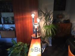 1970 Vintage Italian Chrome 3 Colonne Lampe Targetti Geanno Sciolari Style