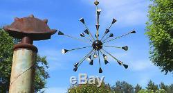 1of2 Oversized Stilnovo Sputnik 24 Lumières Lustre En Laiton Et Noir 1950 Perle