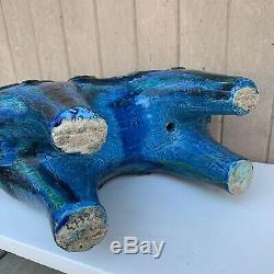 # 2 Grand Bitossi Aldo Londi Rimini Blue Horse Poterie Italienne Milieu Du Siècle Moderne