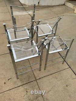5 Ensemble De Chaises Pliant Vintage 1970 Lucite & Steel Chrome
