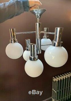 60s 70s Italienne Stilnovo Spoutnik Chrome Blanc 6 Globe Lampe Lustre