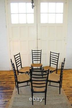 6 Gio Ponti Style Italien MID Century Ladder Back/rope Dining Chairs
