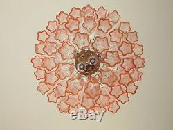 À Trois Niveaux En Verre De Murano Lustre Tube 48 Rose Lunettes Au Milieu Du Siècle Moderne