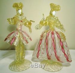 Absolument Art Vintage Magnifique En Verre De Murano De Venise Figurinesman + Dame / Femme