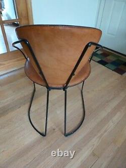 Acier En Cuir Brun Cantilever Arrben Italie Chaise Mid-century Moderne