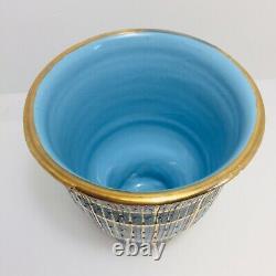 Aldo Londi Bitossi Seta MID Century Moderne Italien Vase Pied Bleu Or Signé