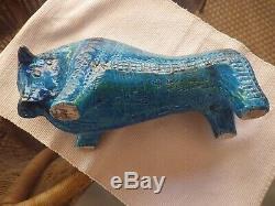 Aldo Londi Large 12 X 6 X 5 Bleu Bull Palla Rimini Bleu Poterie Bitossi Italie