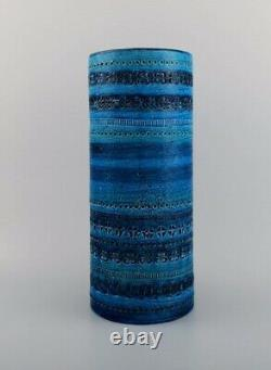 Aldo Londi Pour Bitossi. Vase Cylindrique En Céramique Vitrée Bleu Rimini