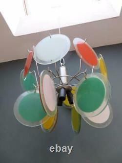 Alexander Calder Inspirée Plafond Italien 1970 Léger Chrome Et Verre Pendentif