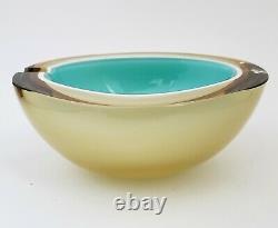 Alfredo Barbini Murano Verre Geode Ashtray Bowl Casé Aqua Blanc Amber Vintage