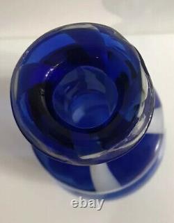 Alrose Empoli Bleu - Décanteur Rayé Blanc Avec L'étiquette Murano Stopper Mi-siècle