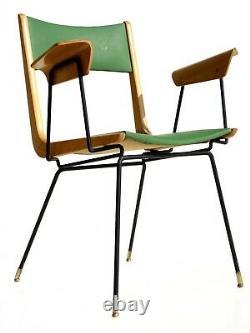 Années 1950 Par Carlo De Carli Italien Midcentury Design Moderne Joué Chaise En Bois