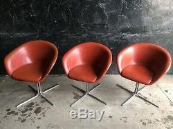 Arper Italien Pivotant Chrome Pod Egg Vintage Modern Chaises Orange Foncé