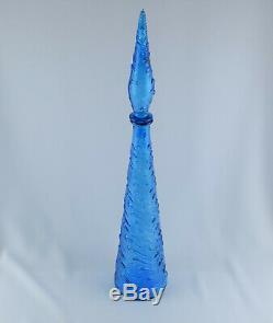 Art Italien Vintage Verre Design Blue Wave 22.5 Bouteille Genie Decanter Empoli