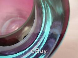 Barbini Cenedese Seguso Bleu Violet Poli Verre Art Sommerso Murano Bol Géode