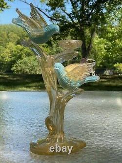 Barbini Murano Vénitien Bleu Or Oiseaux Flecked Sur Branche Avec Sculpture De Nest