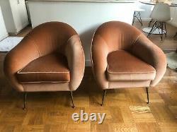 Barneys Mohair Italien Mid-century Chaises Longues Modernes (paire) Par Lucien Roberts