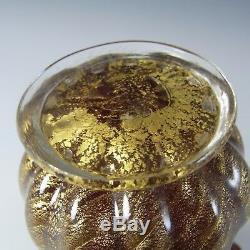 Barovier & Toso Murano 50 Cordonato Oro Gold Leaf Vase En Verre Rouge