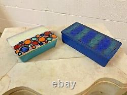 Bitossi Londi Raymor Vtg MID Century Modern Rimini Blue Pottery Box Italie Bagni
