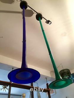 Blu Venini Signé Lampe De Plafond Mi-siècle Modern Design 50s Murano Verre