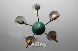 Century Vintage MID Chandelier Pendant Lamp Reflected 5 Lumières Colorées, Des Années 1950