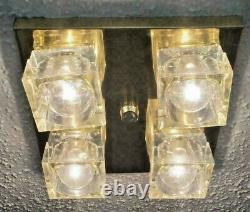 Century Vintage MID Modern Italian Sciolari Cube Flush Laiton 4 Light Chandelier
