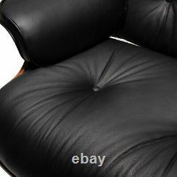 Chaise De Salon Classique Et Canapé Inclinateur En Cuir Noir Ottoman 100% Grain Italien