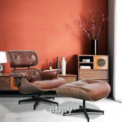 Chaise Longue En Cuir 100% Italienne Aniline Real Leather Chair Ottoman Mid-century Light Walnut