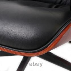 Chaise Lounge Rosewood Eams & Fauteuil En Cuir Italien Authentique Ottoman Inclinable