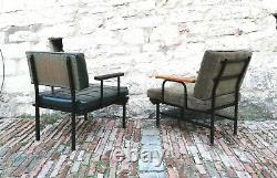 Chaises De Salon Vintage MI Siècle Pair Cubisme Isa Bergamo Italy 1950s