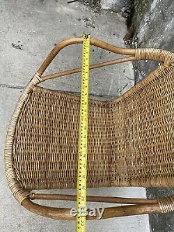 Chaises Vintage Sculptée Bamboo Hoop Causeuse & Set De Table Avec Fer Jambes MCM