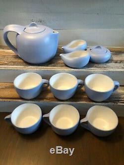 Elsa Peretti Tiffany Co Italie 10 Thumbprint Piece Tea Set Pot Sucre Creamer Bleu