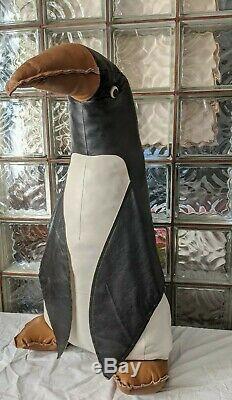 Énorme 32 Vintage Stuffed Cuir Pingouin Milieu Du Siècle Italian Design Omersa Décor
