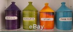 Ensemble De 4 Raymor Italie Milieu Du Siècle Vice Jars Drug Marijuana Héroïne Nicotine Opium