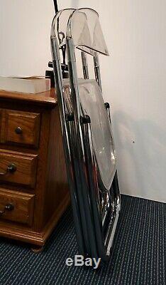 Ensemble De Castelli Italien Plia Acrylique Transparent Lucite / Chrome Chaises Pliantes De 2-1960