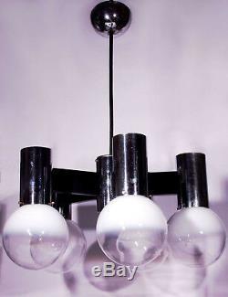 Espace Vintage Lustre Italien Âge Verre Globe Sixties Spoutnik Design 60s 70s